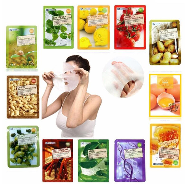 Colágeno Aloe Bamboo Blueberry Olive Caracoles Honey Essence Facial Mask Sheet 3D Moisture Face Pack Máscara Cuidado de la piel