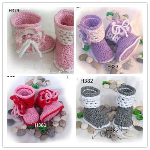 Crochet baby girl shoes Baby Booties 2015 NEW style Baby Booties handmade shoes snow tall waist booties 0-12M 16pairs/lot