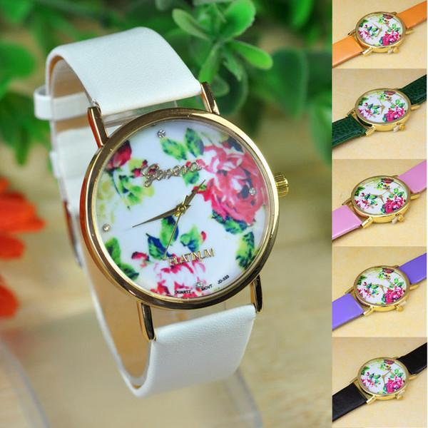 2015 heiße Mode Frauen Leder Rose Blume Quarz Uhren Geschenk