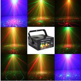 High quality Remote 5 Lens 80 Patterns RG Laser BLUE LED Stage Lighting DJ Show Light Green Red Home Professional Light 110-220V