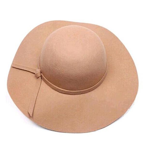 Vente en gros-Mode Chapeaux Floppy Vintage Woolen Felt Hat Femme Automne Hiver Vagues Grand Bord Sunbonnet Fedoras Chapeau De Soleil Rouge Livraison gratuite
