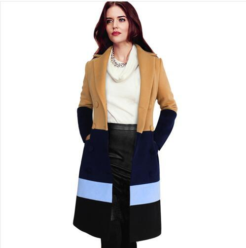 2017 Womens New Winter Fashion Colorblock Double Breasted Lapel Botton Work Casual Thick Warm Long Coat Jacket Outwear