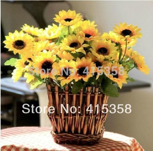 20/lot silk simulation artificial Sunflower flowers daisy bush bouquet wedding & home decor, freeshipping