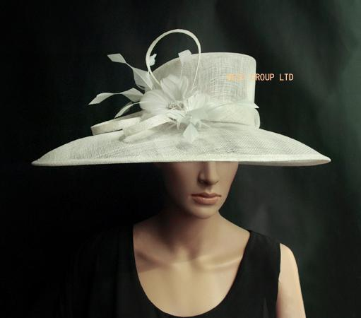 top popular IVORY Sinamay Hat Church Hat for formal occasion.Brim width 19.5cm in the biggest part. 2019