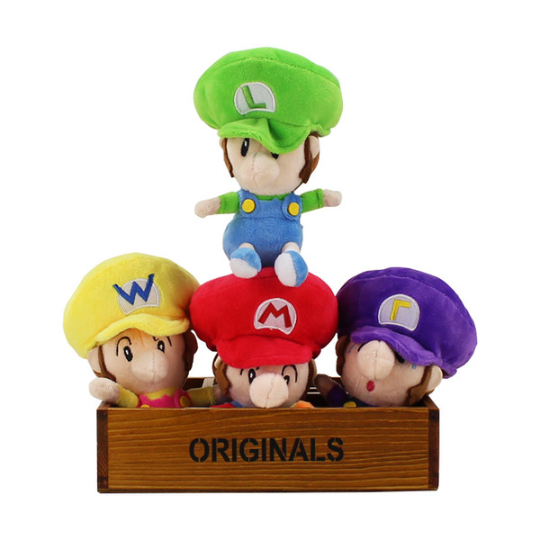 4pcs/set Classic Game Super Mario Bros Plush Dolls Super Mario Luigi Waluigi Wario Cotton Stuffed Cartoon Toy Free Shipping