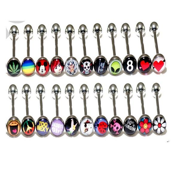 Mixed Logo Tongue Bar Tongue Piercing Tongue Rings Barbell Stainless Steel Mixed Size Fancy Body Piercing Jewellry 14g