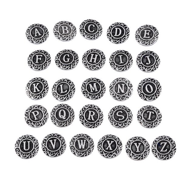 top popular initial A-Z alphabet letter Noosa chunk metal alloy ginger snap buttons for ginger snap bracelet DIY jewelry 2019