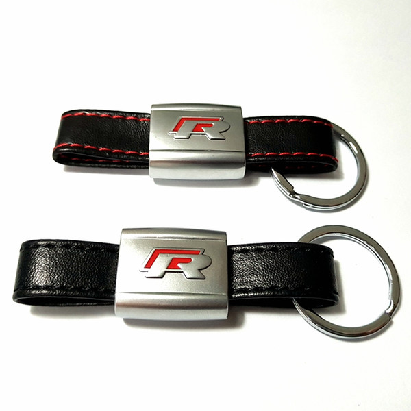 PU Leather Car Keychain Key Chains Rings Fob Fits for Volkswagen VW Polo Golf 6 7 Jetta POLO R Logo Holder Black/Red Car styling