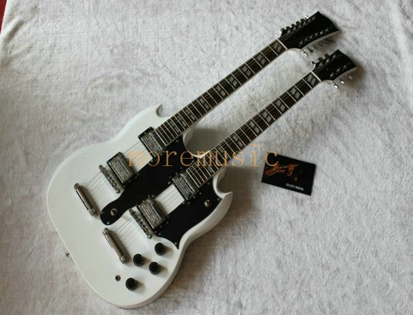 Left Hand Double Neck Electric Guitar golden Custom 1275 Double Neck Electric Guitar left handed guitar in white 6/12 strings