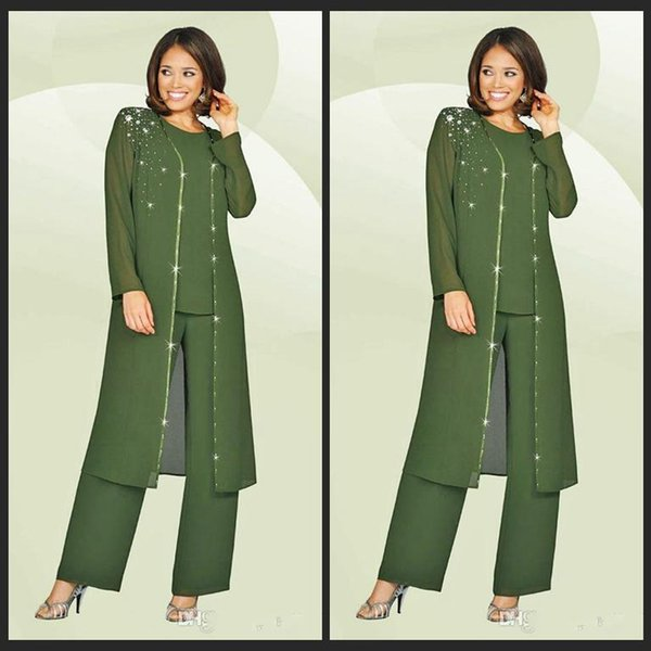 3 Pieces 2018 Chiffon Mother Of The Bride Pant Suits Jewel Long Sleeves Army Green Plus Size Mother Dress Evening Party Gowns Cheap