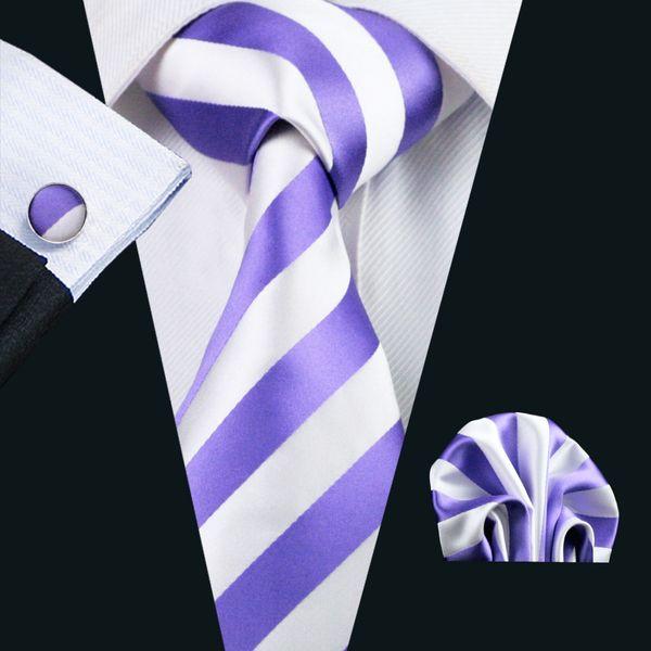 Purple Stripe Tie for Men Classic Silk Hanky Cufflinks Set Jacquard Woven Formal Work Meeting Leisure N-0339