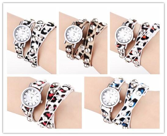 Fashion Cheap Wrap Leopard Strap Women Leather Wrist Watch Weave Bracelet Quartz Movement Lady Round Dial Charming Drop Free Shipping