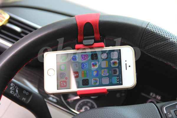 best selling Free DHL Universal Car Steering Wheel Cradle Cellphone Holder Clip Car Bike Mount Stand Flexible Phone Holder extend to 86mm for iphon6 plus