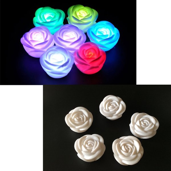 Rose Flower LED Light Night Changing 7 Colors Romantic Candle Light Lamp Smokeless Flameless - Wedding Party Chirstmas Decor