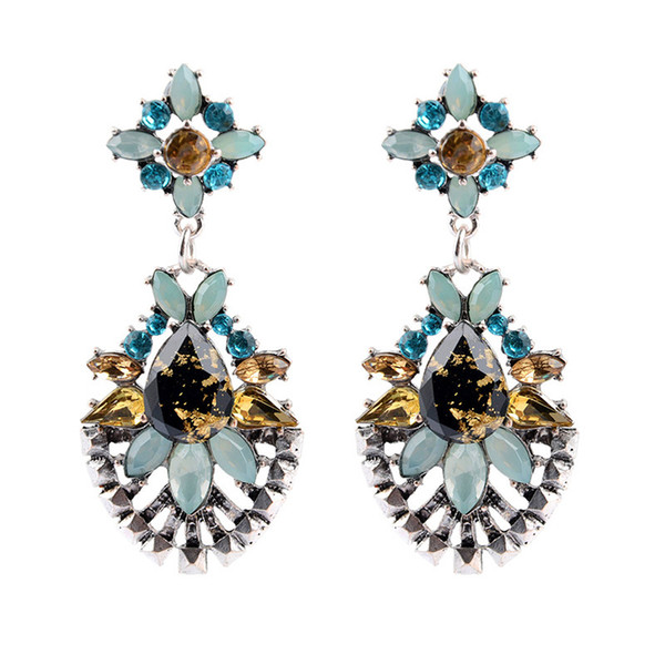 High Quanlity Europe and the United States 30g luxury colorful drops crystal gem flowers vintage earrings ladies Dangle & Chandel jewelry