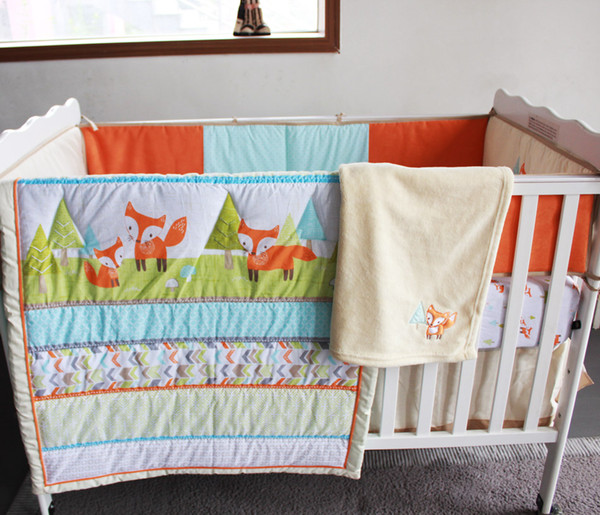 top popular 2016 Embroidery 3D prairie fox Baby bedding set 7Pcs 100% cotton Crib bedding set Early education Bedskirt Quilt Bumper Fitted Cot bedding 2021