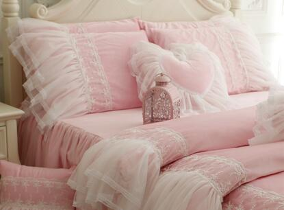 Pastoral style super soft coral bedding sets ,Lanny princess full king queen bedclothes cotton bedspread pillowcase duvet cover