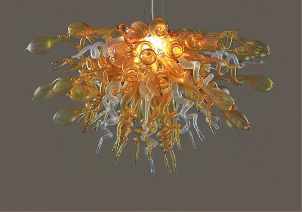 Top Design Ambre Sunshine Couleur DIY Nivelés LED Flush Mounted Main Verre Soufflé Art Lustre Éclairage