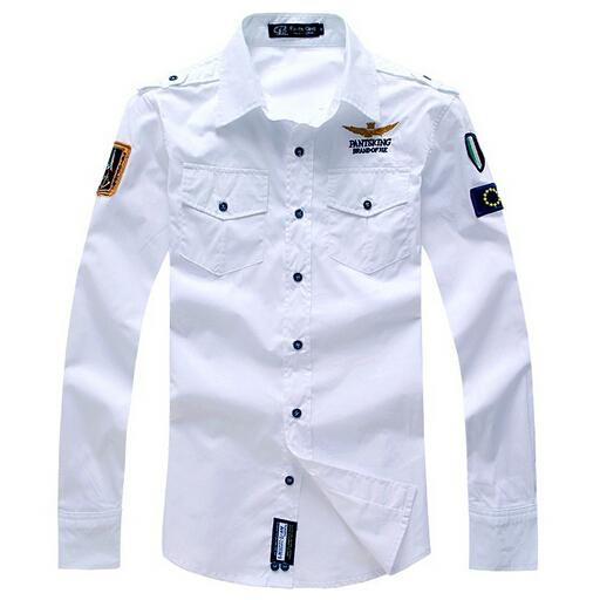 Moda Hava Kuvvetleri Üniforma Askeri Uzun Kollu Slim Fit Gömlek erkek Pamuklu Rahat Elbise Gömlek Camisa Masculina