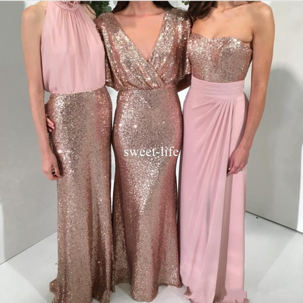 Shining Three Styles Sequin 2019 Mermaid Bridesmaid Dresses Rose Gold with Pink Custom Made Wedding Party Formal Gowns Maid of Honor