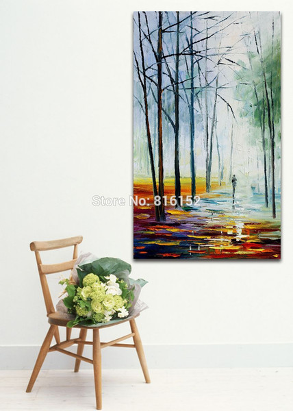 Palette Knife Oil Painting Silent White Forest Path Landscape Picture Printed on Canvas for Living Room Bedroom Wall Decor