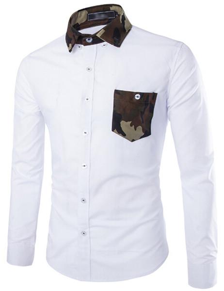 FG1509 2015 Neue Mens Shirts Brand Design Männer Slim Fit Weiß Schwarz Camouflage hit farbe Langarmshirt