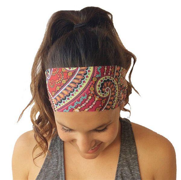 2016 Nueva Bohemia Estilo Diadema de Gasa Mujeres Yoga Wash Cara Deporte Cintas para el Pelo Stretch Wide Head Wrap Floral Accesorios para el Cabello DCBJ556