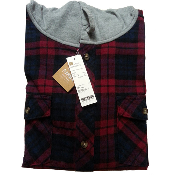Wholesale 2016 Casual Flannel Shirt Hooded Plaid Shirt Men Cotton ...