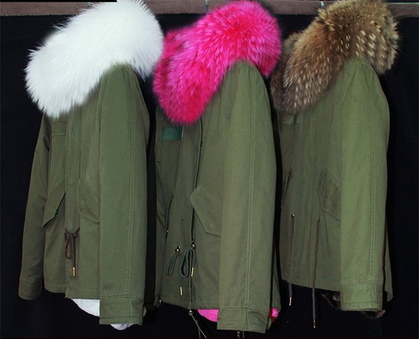 2017 New army green winter jacket women outwear thick parkas plus size raccoon Dog natural real fur collar coat hooded pelliccia