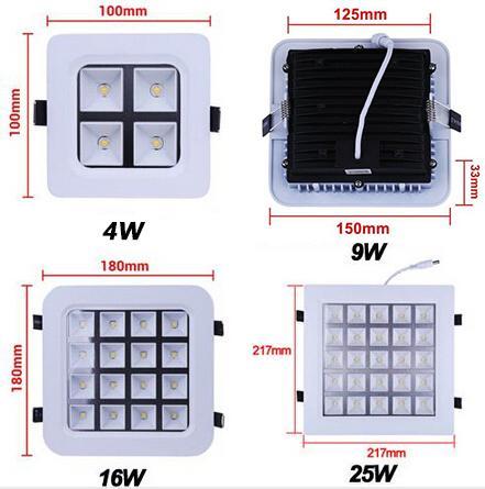 En gros-4W / 9W / 16W / 25W Carré LED Panneau Lumineux Encastré Plafond Downlights AC85-265V Pour l'éclairage de salle de bains cuisine Freeshipping