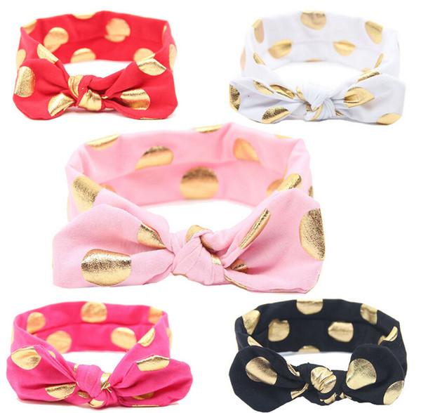 Çocuk nokta yaldız saf renk Tavşan kulaklar bahar bantlar moda seçmek için 12 renk headbands çocuklar saç Aksesuarları