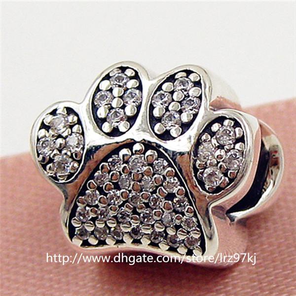 2015 nouveau 925 empreintes de patte en argent sterling perle de charme avec clair cz adapte bijoux européen bracelets collier