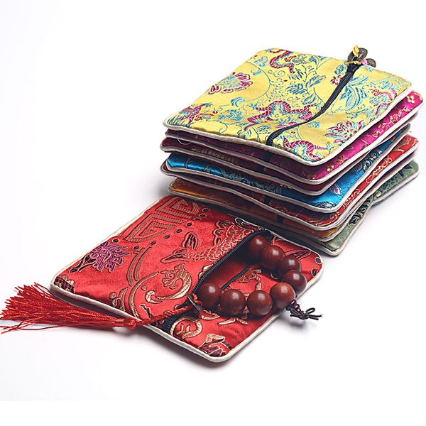 Cheap Small Zipper Craft Jewelry Bag Coin Purse Tassel Chinese Silk Brocade Jewelry Bracelet Bangle Storage Pouch Gift Packaging 8pcs