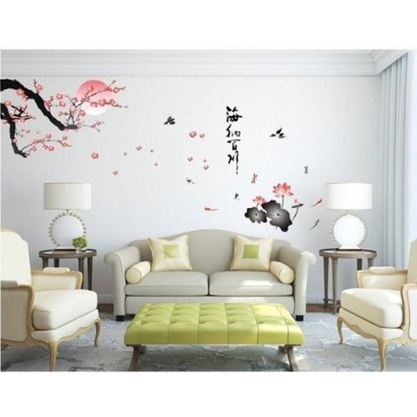 """Plum Blossom Lotus Moon Birds Chinese Letters """"All rivers run into sea"""" Wall Stickers Removable Vinly Home Art Wallpaper Decal"""