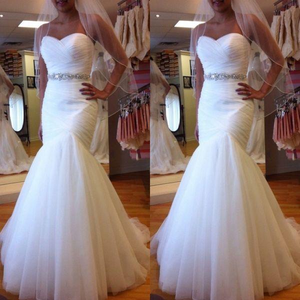 robe de mariée Mermaid Wedding Gowns Sweetheart Sleeveless Ruched Tulle Trumpet Bridal Gowns Vestido De Novia Crystals Belt Sweep Train