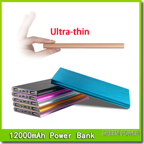 top popular Ultra thin 12000mAH Power Bank Battery Safety USB Charger Emergency for Mobile iphone Android cellphones chargers Free shipping 2019