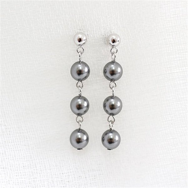 Fashion Genuine Natural Freshwater Pearl Earrings 925 Sterling Silver Jewelry White Black Color Pearl Drop Earrings For Women HF