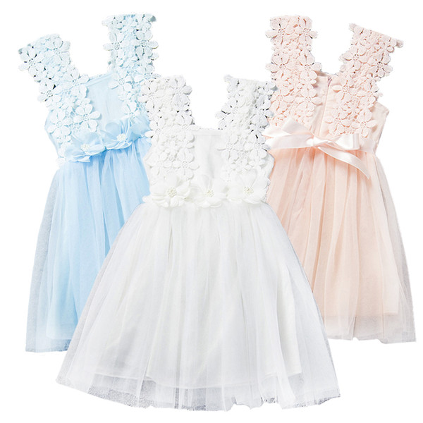 top popular Prettybaby girls lace flower sundress baby kids girl clothes sleeveless gauze beading dress summer princess dresses 6 colors Pt0223# 2020