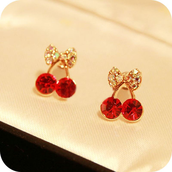 OMH wholesale 6pair OFF 27%= $0.5/pair EH90 accessories sweet little cherry red stud earring 3g