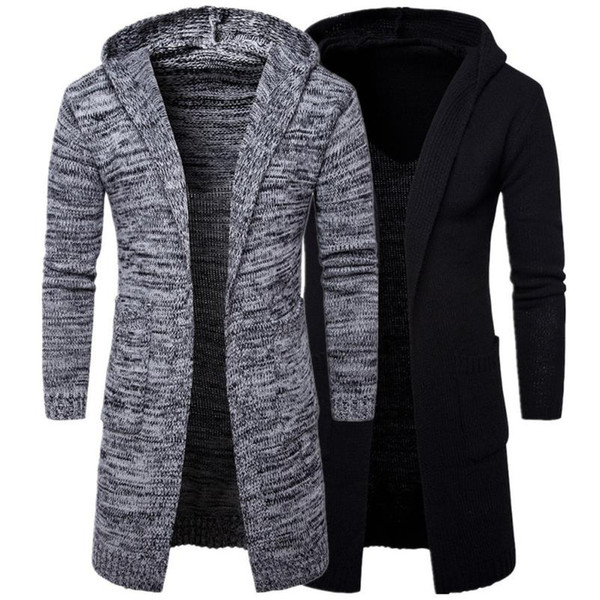 Wholesale- 2017 New Arrival Mens Slim Fit Hooded knit Sweater Fashion Cardigan Long Trench Coat Jacket