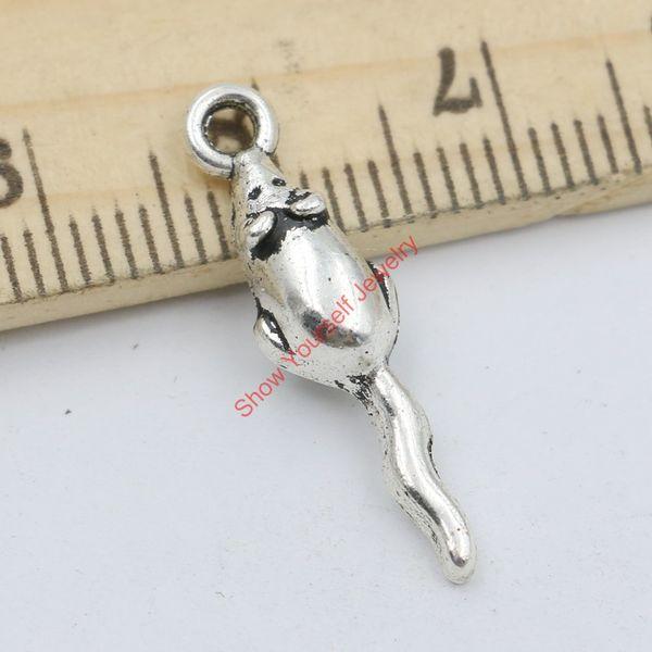 20 adet Antik Gümüş Kaplama Fare Charms Kolye Takı Yapımı için DIY El Yapımı Zanaat 24x6mm Takı yapımı DIY
