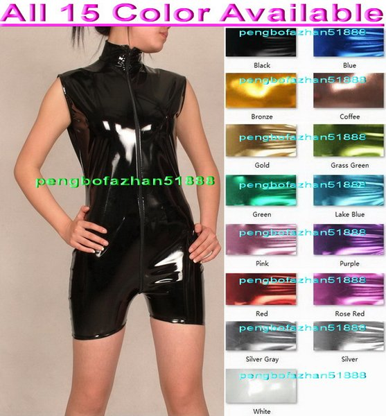 Sexy Short Body Suit Costumes New 15 Color Shiny Lycra Metallic Short Suit Catsuit Costumes Sexy Bodysuit Sleeveless Front Long Zipper P089