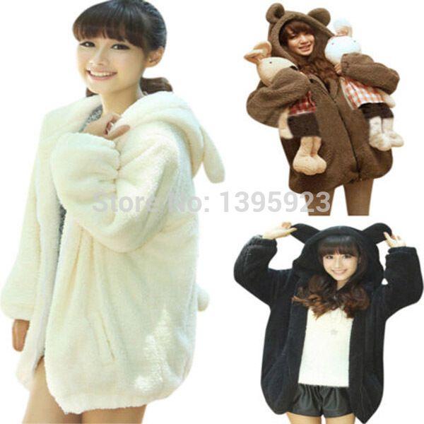 Hot Selling 2015 Womens Long Sleeve Hooded Outwear Hooded Sweatshirt Cartoon Bear Ear Fleece Hoodies