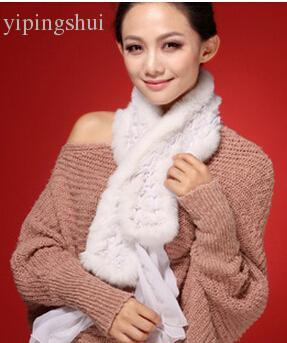 Wholesale-FS11 New Real rabbit fur scarf wrap cape shawl neck warmer women fur scarf in fashion free shipping 9 colors