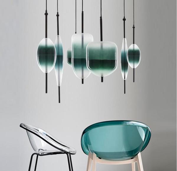 Gradient Glass Led Pendant Lamp Blue White Flow Pendant Lights Chandelier Ceiling Lamp Indoor Lighting Ac110v 240v Grey Pendant Light Edison Bulb