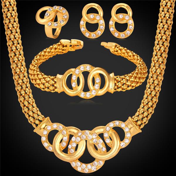 Africano precioso collar de traje pulsera aretes anillo 18 K chapado en oro Rhinestone regalo del partido para mujer joyería de la boda MGC NEHR1076