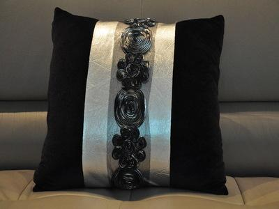 Fashion Square Eu neoclassical black pillow silver sofa Cushion home supplies Lace Flower Pillow case + pillow core Wedding valentine Gift