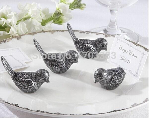 Free shipping 100pcs Antiqued love Bird Place Card Holder wedding party table decor bridal shower favor favours gift #FWF76 0915#15