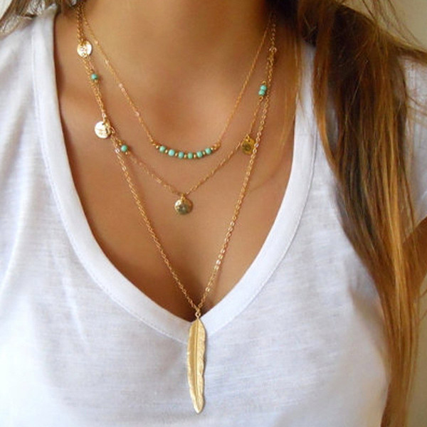 10шт / Lot Летний стиль ювелирных изделий Мода женщин многослойное ожерелье пера Круглый Блестки шарма Бирюзовый ожерелье золото / серебро