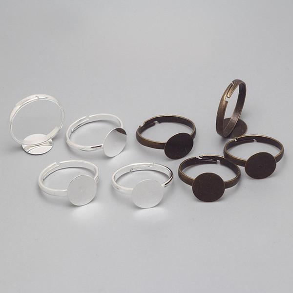 Großhandels-Einfacher justierbarer Ring stützt leeren Ring-Schmucksache-Entdeckungen Komponenten 10mm Cabochon-Ring-Einstellungs-Entdeckungen 100pcs / lot 8406 auf